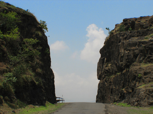 Road between cliffs